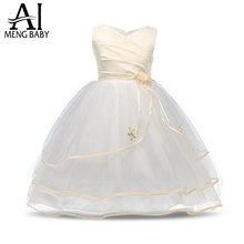 2017 Flower Girl Dress For Wedding Pageant Prom Party White Dress Baby Kids Clothes Toddler Children Events Special Dresses Girl