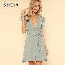 SHEIN Green Vacation Boho Bohemian Beach Ruffle Armhole Button Front Belted Striped High Waist Dress Summer Women Casual Dress