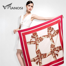 [VIANOSI]  Fashion Foulard Women Shawls Red Twill Silk Satin Scarf Print Pattern 100*100CM Square Head Scarves VA034