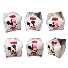 10pc/lot Kids Birthday Party Supplies Cube Mickey Minnie Mouse Brand 6 Side Foil Balloon Home Decoration foil ballon baloes gift