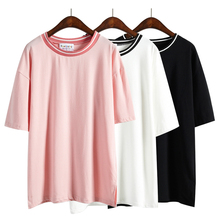 harajuku shirt cropped shirt women t-shirt 2017 summer style korean tshirt pink rock t-shirt women tops couple clothes
