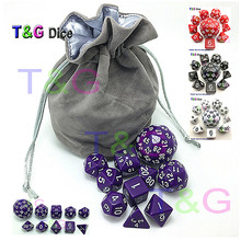 10pc Black Digital Dice Set with Bag T&G High quality d4,d6,d8,2xd10,d12,,d20,d24,d30,d60 dnd RPG Playing Games Big dice TOY
