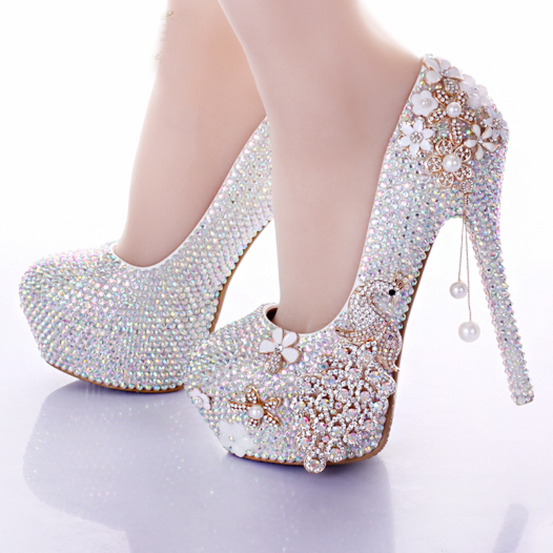 2016 Gorgeous Handmade AB Crystal Color Wedding Shoes Elegant Prom Party Formal Dress Shoes Bridesmaid High Heels Pumps<br><br>Aliexpress