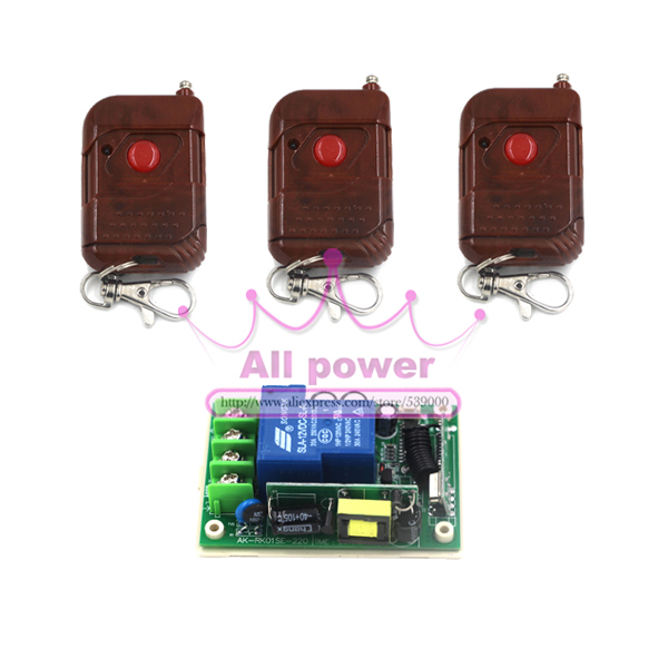 Wireless wall power remote switch 250V 1ch,Best Price rf Switch System Receiver &amp; 3pcs 1 Keys Remote controller 315mhz/433mhz<br><br>Aliexpress