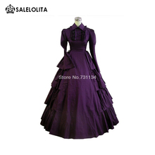 2017 fashion full sleeve gothic victorian dresses floor-length ladies victorian edwardian day costume