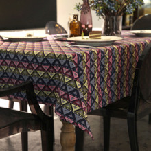 Posey Table Cloth Folk Style Geometric Round Rectangle Coffee Dining Decor Cover Polyester Cotton Blend Yarn Dyed Tablecloth