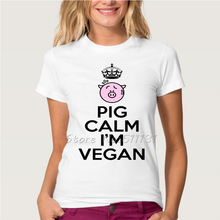 Funny Lovely Pig calm I'm vegan Letters Printed T Shirt Women/Girl Casual Streetwear Tops Tees Good Quality Brand Clothing(China)