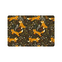 "Forest Friends Flowers And Fox Door Mat Doormat Rugs for Home/Office/Bedroom Rubber Non Slip 23.6""(L) x 15.7""(W)"