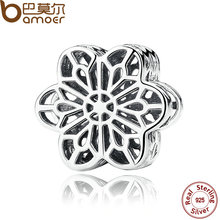 BAMOER 925 Sterling Silver Floral Daisy Lace Silver Charms Fit Bracelet Beads Jewelry Making PAS287(China)