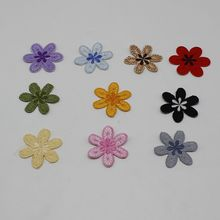 1pcs sunflower flower dress striped patch stickers DIY clothes iron patch custom embroidery badge