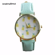 Susenstone Top Fashion Brand Women Watch Small Fresh Soft Girl Leisure Watches Pineapple Ladies Quartz-Watch Clock reloj mujer