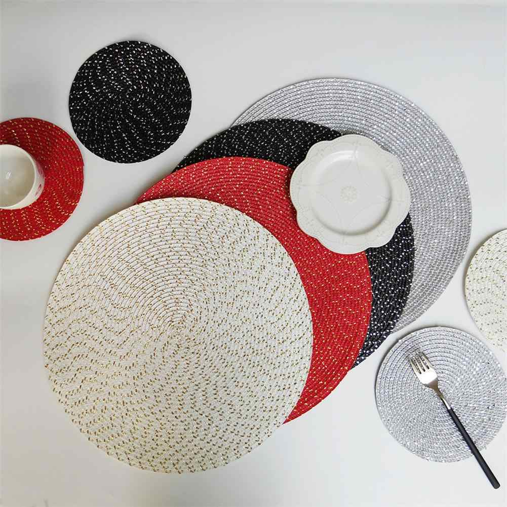 New PP Wire Woven Mat  Kitchen Dinner Handmade Pad Children's Table Round Oval Woven Placemat