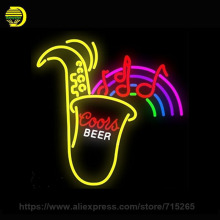 Saxophone neon Signs Coors Beer Custom Lamp Handmade Glass Tube Neon Bulb Neon Light Sign Lamp Decorate Room Store Display 24x24(China)