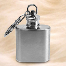 New Portable 1oz Mini Stainless Steel Hip Flask Alcohol Flagon with Keychain Dropshipping Hot Sale(China)