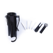 Black Golf Ball Tee Holder Golf Pro Clip Caddy with Nylon Brush Divot Tool Golf Cleaning tools with brush