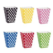 6 Pcs/lot Colorful Polka Dot pattern Paper Popcorn gift candy movie Boxes Loot bags kids Birthday Party Spot Supplies