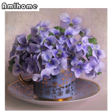 NEW 3D DIY Diamond Painting Purple Vase Cross Stitch Rhinestone Crystal Needlework Diamond Embroidery Full Drill Decor HC1461