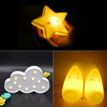 Quadruple Decorative Novelty Star /Cloud/Moon Shape LED Night Light Battery Operated For Christmas Decoration or Kid's Gift