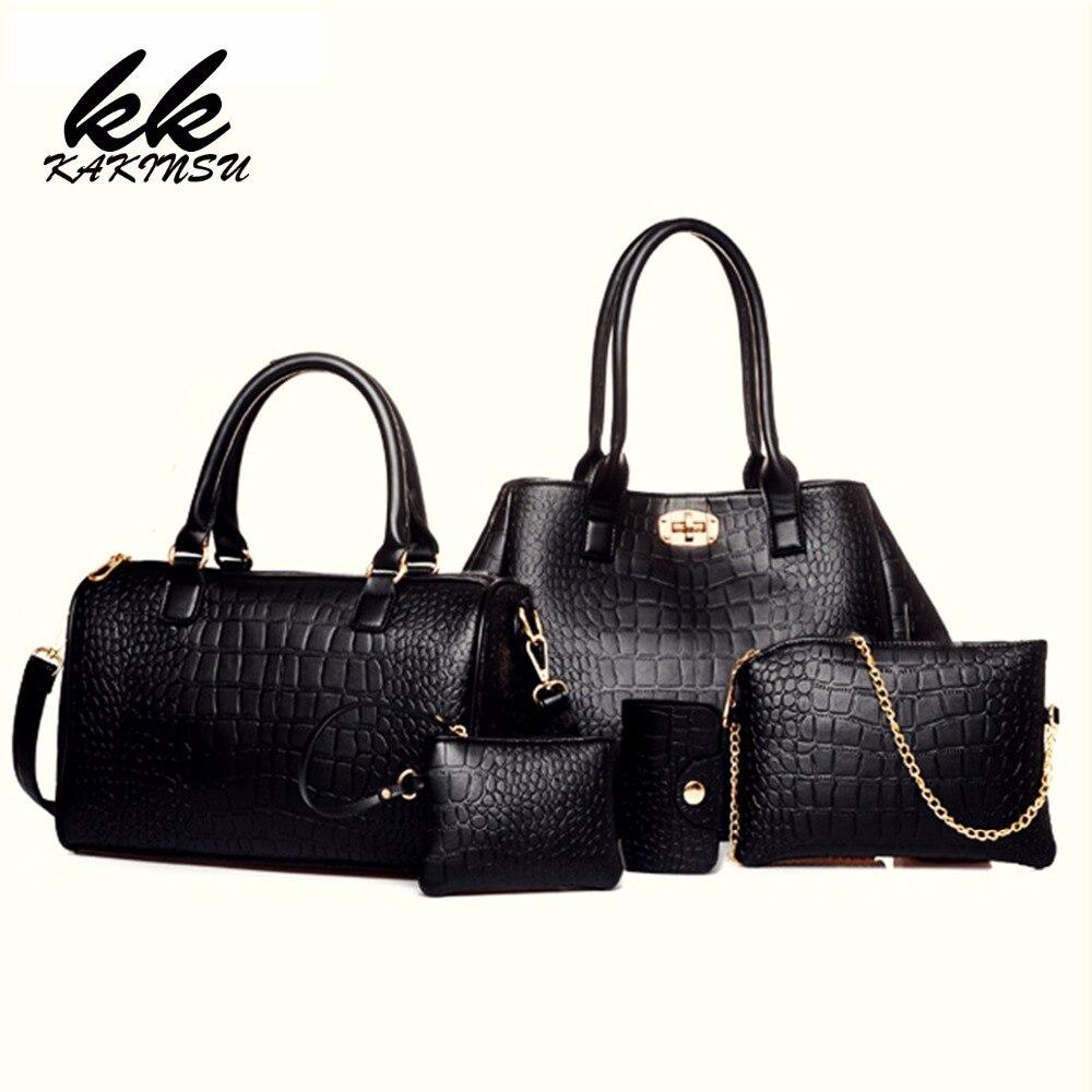 KAKINSU 2016 New Composite Bags Women Female Bags 5 Pieces/Set Alligator Print PU Shoulder Bags Handbags &amp; Crossbody #Z8902<br>