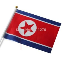 Size:14x21cm Fashion North Korea Flag Polyester Hand Waving Flag North Korea with Plastic Flagpoles Home Decor.100 pcs /lot(China)