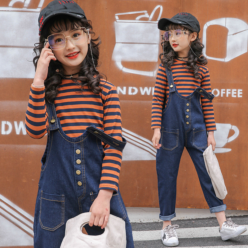 2018 New girl  Clothing Sets Long sleeve Striped + jeans baby kids suits 2 pcs fashion girls clothing sets children clothes <br>