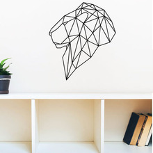 Head Of Lion Wall Stickers Geometric Hollow Out Vinyl Self Adhesive Wall Decals Wall Decor Creative Stickers(China)