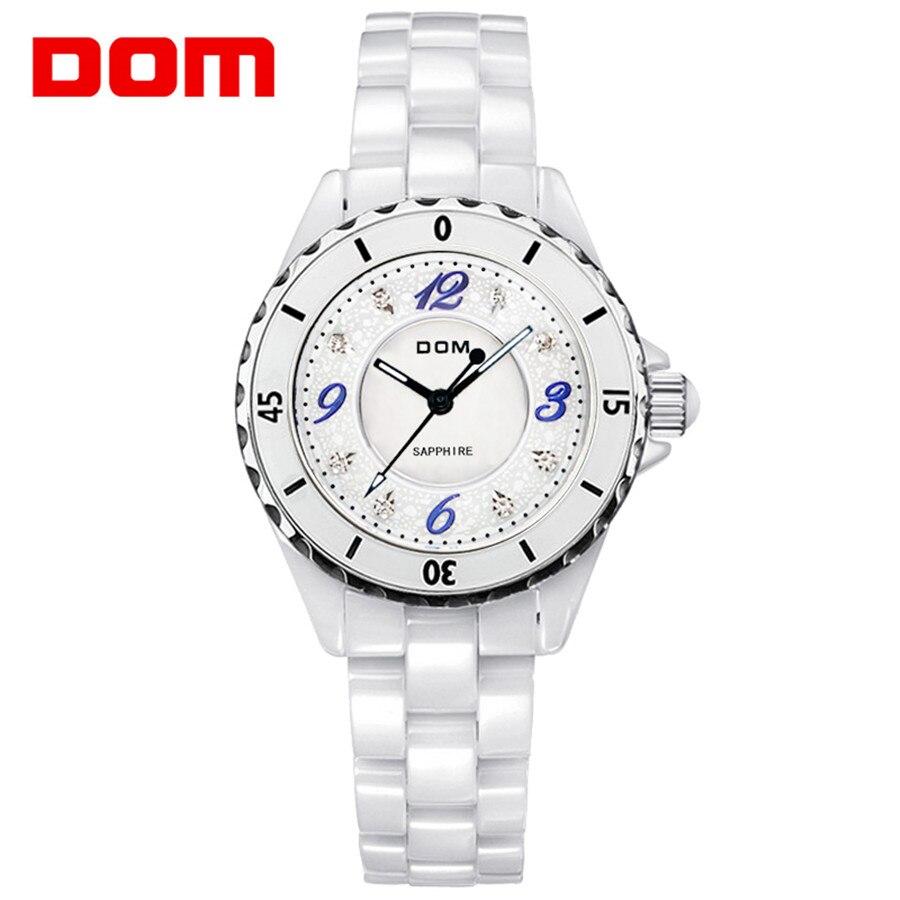 DOM Top Brand Fashion Ladies Watches ceramics Female Quartz Watch Women ceramics Strap Watch Reloj Mujer Marble Dial  2018<br>