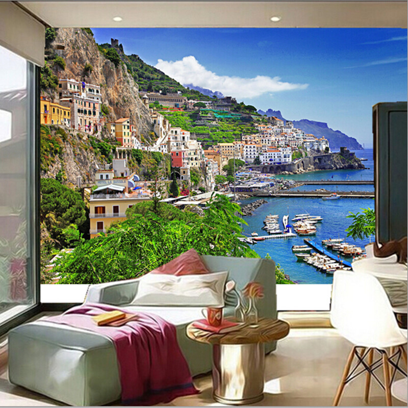 The  custom 3D murals, Italy Houses Marinas Mountains Positano Cities wallpapers,the living room sofa TV wall bedroom wall paper<br>