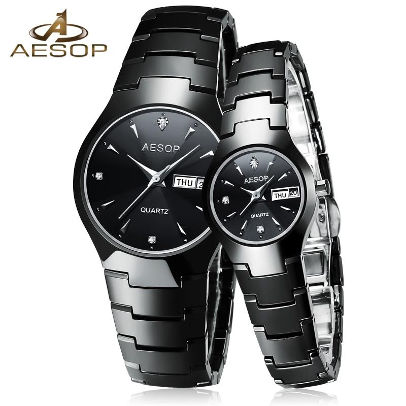 AESOP Ceramic Couple Watch Women Men Sapphire Crystal Lovers Quartz Wristwatch Ladies Clock Montre Femme Relogio Feminino Box 27<br>
