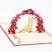 Sweety wedding invitation 3D laser cut paper cutting Greeting Pop Up Kirigami Card Custom postcards Wishes Gifts for lover
