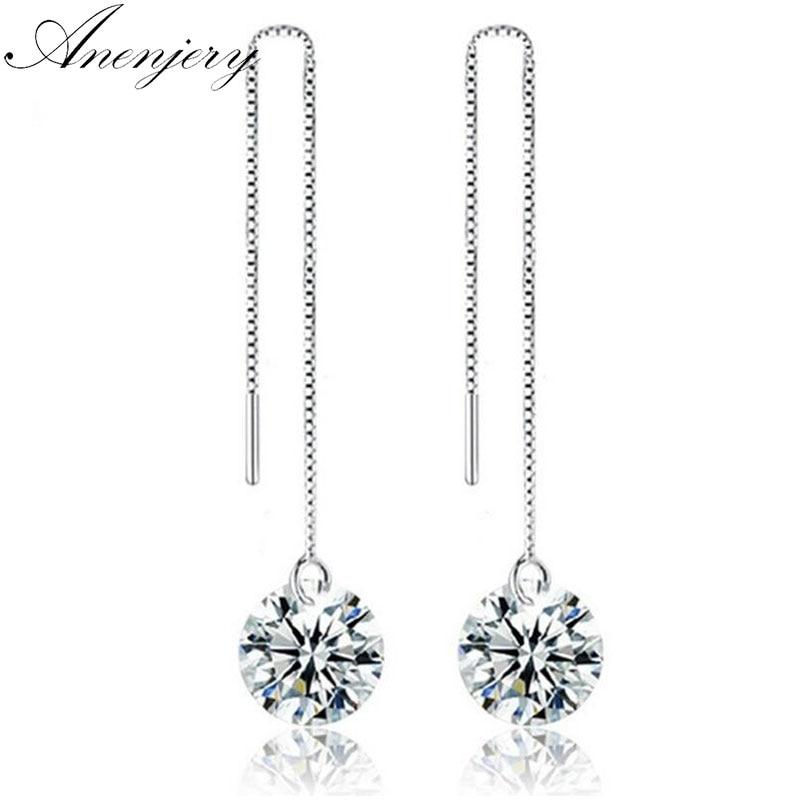 SILVERCUTE Pearl Drop Earrings 925 Sterling Silver Threader Line Thread Earrings