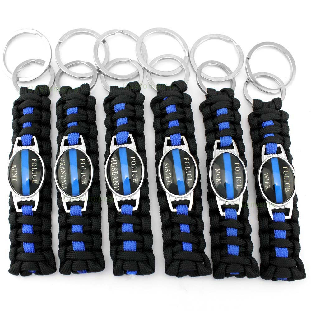 Policeman Deputy Police Daughter Son Dad Mom Sister Wife Aunt Grandma Husband Survival Paracord Key Rings Keychains Key Chains 29