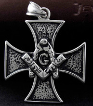Men's charm Stainless Steel Masonic Cross Pendant Freemason  Iron Cross PH52