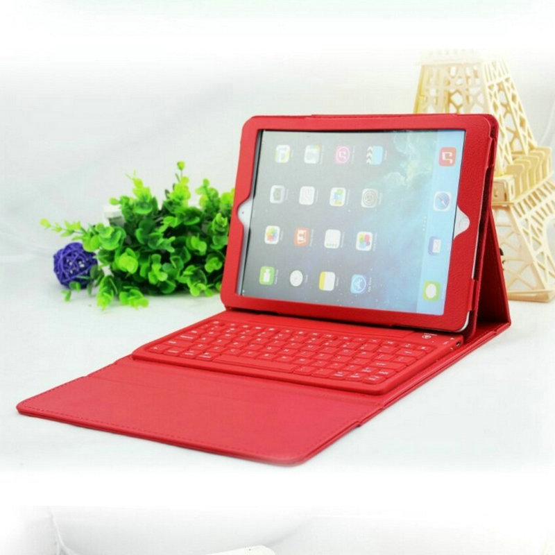 2016 Silicon Wireless Bluetooth Keyboard 3.0 Ultra Thin For iPad Air iPad 5 Leather Case Cover english free shipping<br><br>Aliexpress