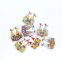 Scrapbooking Buttons Wooden Buttons Sewing Accessories Cabochons 50Pcs 2 Holes Castle Wood Decorative Sewing Buttons(China)