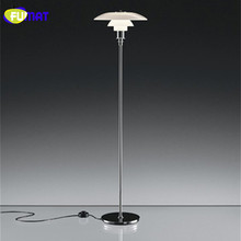 FUMAT Floor Lamps Modern Louis Pouls PH Floor Light Fixture Metal Stand Lamp Three Layer White Glass Floor Lamp for Living Room(China)