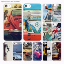 Retro summer volkswagen bus beach art design hard White Case Cover for Apple iPhone 7 6 6s Plus SE 5 5s 5C 4 4s phone case