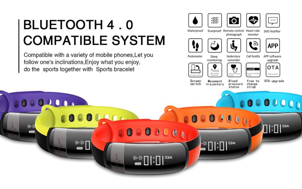 HUINIU Sport Smart Band Waterproof Bluetooth Bracelet Activity Tracker Heart Rate Monitor Smartband Message Reminder Wristbands 1