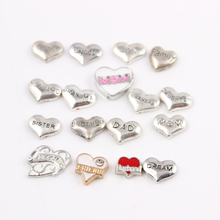 Buy 60pcs/lot Silver Heart Family Member Floating Charms Dad Grandma Son Sister Daught Mom Living Glass Memory Locket Charms for $7.59 in AliExpress store
