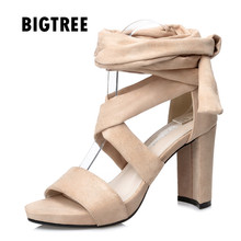 2017 Women sandals Sexy Flock Cross-tied thick high heels Ladies Gladiator sandals Summer Club Party Shoes Woman Sandalias