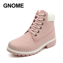 GNOME Fashion Brand Boots Women Pink Ankls Boots for Women Spring Autumn Boots Female High Quality Ladies Boots Shoes Woman