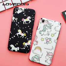 LOVECOM Cartoon Horse & Rainbow Loving Heart Hole Pattern Soft Silk Anti Shock Mobile Phone Cases For iPhone 7 Plus 6 6S Plus