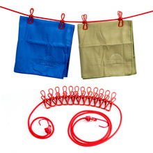 Portable Travel Stretchy Clothesline Outdoor Camping Windproof Clothes Line With 12 Clamp Clips Hooks Outdoor Tool(China)