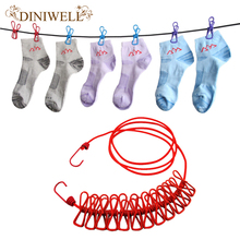 DINIWELL Outdoor Travel Portable Clothesline Garment Clip Socks Underwear Hanger Scalable Windproof Elastic Rope With 12 Clips(China)