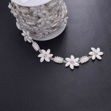 DIY 5Yards Very Beatifu White Pearl Rhinestone Trim Exquisite Applique Bridal Dress Belt Sash Sew on Appliques Accessory HF-3007(China)
