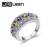 1pc Hollow Personalized Peridot &Rhinestone Bijoux Silver Color Ring Jewelry Yellow Purple Size 6/7/8/9/10/11/12 Retail