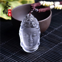 natural white crystal pendant carved Guanyin Pendant Avalokiteshvara transport safety
