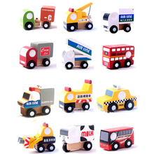 X004 12 pcs new wooden car model toys educational toys for children of taxi car milk food crane bus stands on two floors