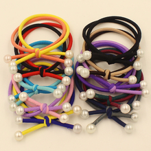 10pcs/lot Super Quality Elastics Pearls Rubber Bands Double Layers 2016 New Fashion Women Girls Hair Holders Accessories Tie Gum(China)