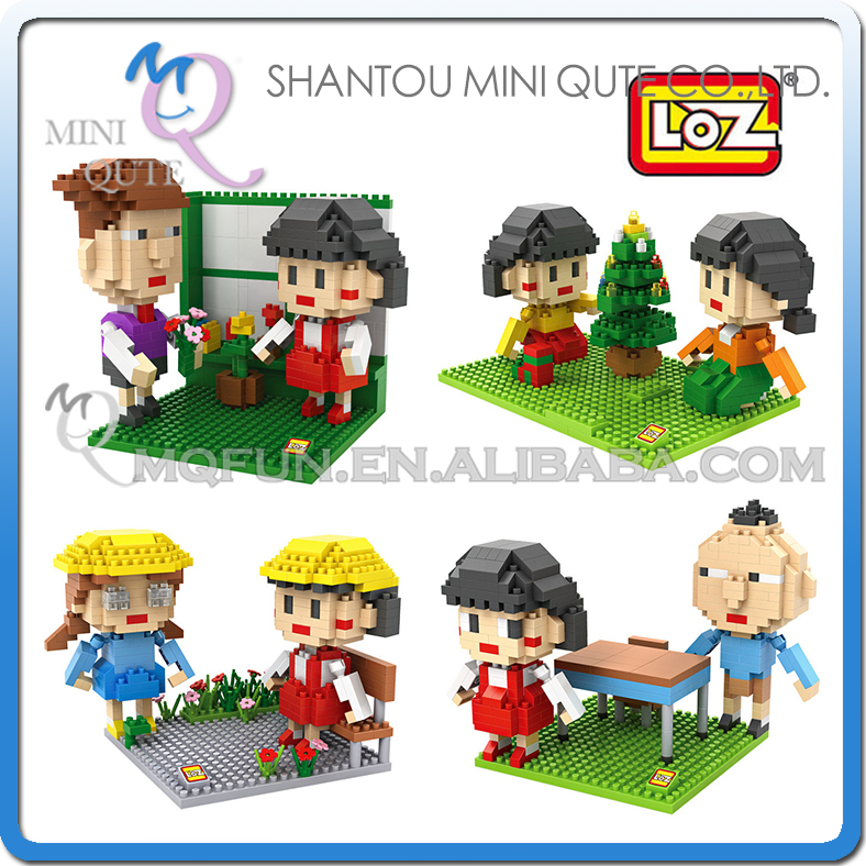 Full Set 4 pcs Mini Qute WTOYW LOZ Anime cartoon Chi-bi Maruko girls gift plastic building block model education educational toy<br><br>Aliexpress